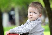 Trendy  baby boy posing — Stock Photo