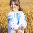 Small rural girl on wheat field — Stock Photo #46239107