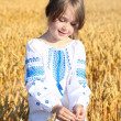 Small rural girl on wheat field — Stock Photo #46239145