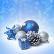 Blue christmas balls on the snow — Stock Photo #14020260