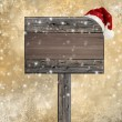 Wooden sign with Santa hat on snowy background — Stock Photo #14020314