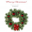 Christmas decoration wreath isolated on white background — Stok fotoğraf