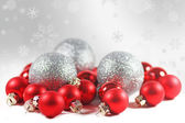 Christmas background with red baubles — Stock Photo
