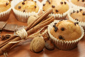 Chocolate chip muffins fresh from the oven — Stockfoto