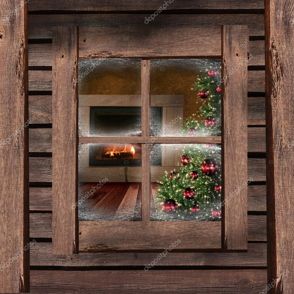 Christmas Lights Seen Through A Wooden Cabin Window