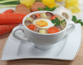 Traditional polish white borscht — Stock Photo