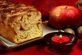 Christmas fresh baked apple pie with red apples — Stock Photo