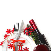 Christmas table setting — Stockfoto