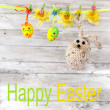 Stock Photo: Easter eggs and rabbit
