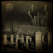 Halloween grunge and scary composition with old cemetery — Stock Photo