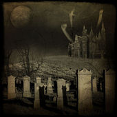 Ghosts, old gravestones, moon and black raven — Stock Photo