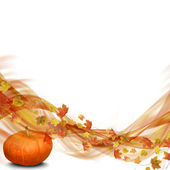 Wave from Autumn Leaves with pumpkin — Stock Photo