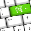 Online shopping or internet shop concepts, with shopping cart symbol.  — Foto de Stock