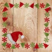 Sfondo in legno con decorazioni natalizie — Foto Stock