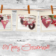 Stock Photo: Photos frames on christmas background