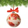 Christmas bauble made by deocupage — Stock Photo