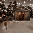 Stock Photo: Deer and Christmas scenery