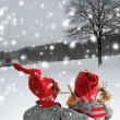 Stock Photo: Two dolls at christmas time Christmas time. Christmas story.