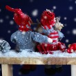 Two dolls at christmas time Christmas time. Christmas story. — Stock Photo