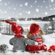Two dolls at christmas time Christmas time. Christmas story. — Stock Photo