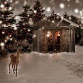 Deer and Christmas scenery — Stock Photo