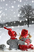 Two dolls at christmas time Christmas time. Christmas story. — Stockfoto