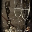 Vintage background with champagne glasses and clock — Stock Photo