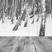 Wood textured backgrounds in a room interior on the winter backgrounds — Stock Photo