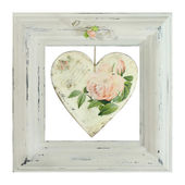 Distressed white painted picture frame — Foto de Stock