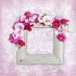 Vintage elegance background with frame and flowers — Stock Photo