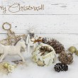 Christmas decoration over wooden background — Stock Photo #35098417