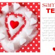 Heart in sugar on red background. Valentines symbol  — ストック写真