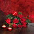 Red background of valentine roses — Stock Photo #38296433