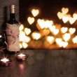 Stock Photo: Valentine background of wine and candle