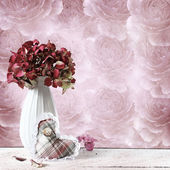 Hydrangea composition in retro background — Stock Photo