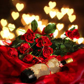 Valentine background of roses , heart and wine — Stock Photo