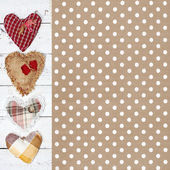 Cloth handmade hearts on wooden background. Valentines day — Stock Photo