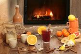Heißen tee an einem kalten wintertag — Stockfoto