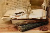 Vintage books and letters — Stockfoto