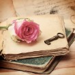 Pink rose on an old book (vintage) — Stock Photo #39557697