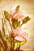Pastel rose bouquet on old paper background — Stockfoto
