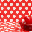 Stock Photo: Burning candle heart, Valentine card