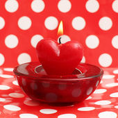 Burning candle heart, Valentine card — Stok fotoğraf