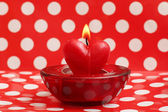 Burning candle heart, Valentine card — Stock Photo