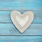 Heart on romantic blue background — Stock Photo
