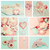 Collage with sweets and decoration for baby — Stock Photo