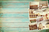 Vintage travel background with old photo — Stockfoto