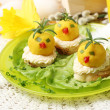 Easter breakfast. Chickens made from egg yolk with mayonnaise pu — Stock Photo