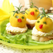 Easter breakfast. Chickens made from egg yolk with mayonnaise pu — Stock Photo #43140913