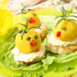 Easter breakfast. Chickens made from egg yolk with mayonnaise pu — Stock Photo #43140927
